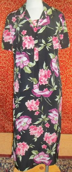 SAG HARBOR 2 Piece black floral sleeveless maxi dress 10 (T21-01D7G) #SagHarbor #Sheath #Casual