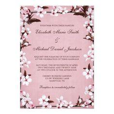 "Pink Cherry Blossoms Border Wedding 5"" X 7"" Invitation Card"