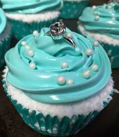 Diamond ring topped cupcakes at a Tiffany bridal shower party! See more party pl. - Diamond ring topped cupcakes at a Tiffany bridal shower party! See more party planning ideas at Catc - Tiffany Birthday Party, Tiffany Party, Birthday Parties, Themed Parties, Birthday Cupcakes, Mermaid Bridal Showers, Bridal Shower Party, Tiffany Bridal Showers, Wedding Showers