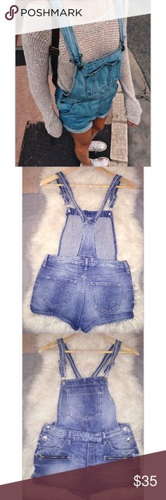 🌙 Denim Overalls shorts 🌙 Denim Overalls shorts. Size small. Adjustable straps. Very cute. Perfect new condition, purchased from PACSUN PacSun Shorts