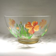 Vintage Hand Painted Glass Bowl  Retro Bowl  by OnlyCoolStuff, $22.00