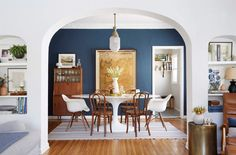 120 Budget Furniture Picks for An Affordable But Stylish Dining Room (good credenza w/ wine bottle storage from all modern) Dining Room Paint Colors, Dining Room Blue, Dining Room Walls, Living Room Paint, Dining Room Design, My Living Room, Dining Room Furniture, Room Chairs, Paint Colours