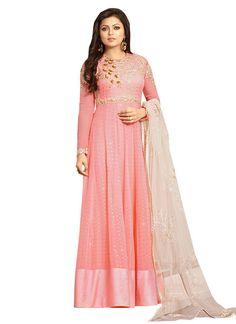 Drashti Dhami Pink Anarkali Suit