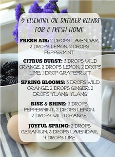 5 Essential Oil Diffuser Blends for a Fresh and Clean Home. Perfect blends for spring!: