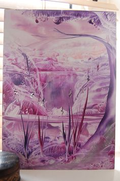 Waterfall Landscape. Encaustic wax painting. by Tezillustrator