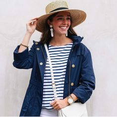 Holiday Weekend Perfection !!!! . . . . . . . . . . . . . . #lovesparkleshine #regram #navy #stripes #hat #sun #layers #weekend #beaded #earrings #tassels #lisilerch #ootd #lotd #obsessed #gold #fashionblogger