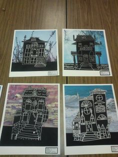 Spooky Victorian Architecture done around Halloween. We learned about Edward Hopper's House by the Railroad painting and used it as our inspiration. Drawing with silver sharpie on black paper. We then cut it out carefully, and glued to an eerie (photo) scrapbook paper background of their choice.