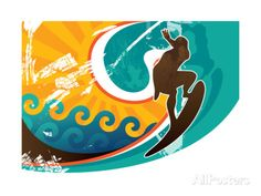 Artistic Retro Surfing Poster Print by Rashomon at AllPosters.com