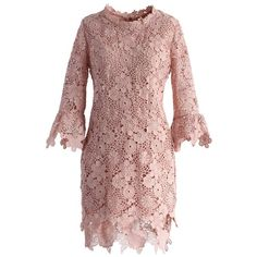Chicwish Demure Floral Crochet Shift Dress in Pink ($59) ❤ liked on Polyvore featuring dresses, pink, retro dress, crochet dress, shift dress, lace dress and brown dress