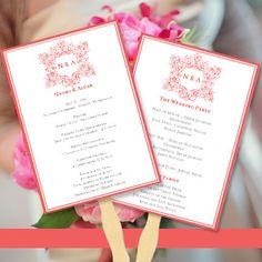 Wedding Program Fan Vienna in Guava  Printable by WeddingTemplates, $10.00