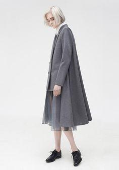 Contemporary Fashion - high-low coat, innovative pattern cutting // Youjia Jin