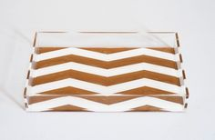 chevron stripe lucite tray. perfect for holding all that's on your vanity