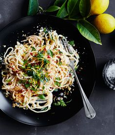 Fresh Spaghetti with Lemon and Parmesan | Pasta tossed with a light, lemony sauce, Parmesan cheese and pinch of red pepper flakes.