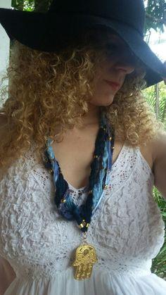 Hamsá textile necklace Colar de tecido Azul Hamsá by EstilodeSer