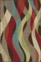 """Rhythmic waves of enchanting color define the design of this transitional area rug. Contemporary but versatile enough for a stately home, this rug is an intelligent choice for many decorating styles. Espresso brown background with teal blue, pear green, ecru gold, cranberry red, russet, snowy ivory and mushroom taupe. Machine made of soft polypropylene that is naturally stain-resistant and easy to maintain. The three piece set includes a 5' x 7', 1'8"""" x 5' and a 1'8"""" x 2'8""""."""