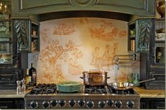 French Country Kitchen by designers, Sally Wilson and John Kelsey of Wilson Kelsey Design. Check out the painted color of the cabinets- Willow Decor Blog
