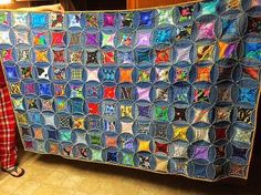here s a quilt i made from my husbands old jeans, crafts, how to, repurposing upcycling, reupholster