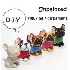 French Bulldog Ceramic Unpainted Figurine Crafts DIY Figurine Ornament   madamepomm - Seasonal on ArtFire