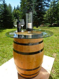 "Wine Barrel Table with 36"" glass top $495.00 Wine Barrel Table, Wine Barrel Furniture, Wine Cellar, Exterior, Patio, Glass, Barrels, Crafts, Boys"