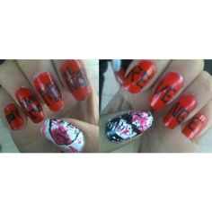 TCFSR My Chemical Romance Nail Art Gallery ❤ liked on Polyvore featuring beauty, my chemical romance and nails