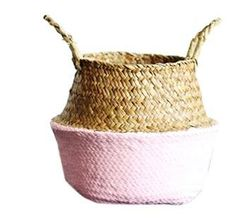 Storage/Decor - Natural and Pink Sea grass Woven Basket (S-14)