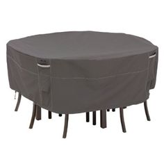 Classic Accessories Ravenna Round Patio Table and Chair Cover, Taupe