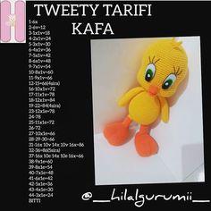 Crochet Bebe, Diy Crochet, Crochet Dolls, Amigurumi For Beginners, Amigurumi Tutorial, Amigurumi Toys, Diy Toys, Tweety, Free Pattern