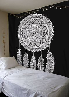 Black And White Tapestry, DreamCatcher Tapestry Wall Hanging, Mandala Tapestries, Indian Traditional Cotton Printed Bohemian Hippie Large Wall Art by SheetKart
