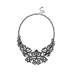 LOVEsick Black Gothic Statement Necklace Hot Topic (13 AUD) ❤ liked on Polyvore featuring jewelry, necklaces, gothic jewellery, goth jewelry, statement necklace, gothic necklace and gothic jewelry