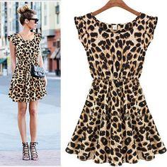 Superb 20151 PCS forma das mulheres Leopard Animal Print plissada leite vestido de seda da celebridade estilo Alipower em Vestidos de Roupas e Acessórios Femininos no AliExpress.com | Alibaba Group