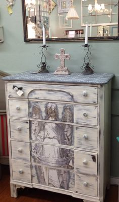 Angel dresser using Annie Sloan Old White and a mixture of Graphite & Old White to make gray