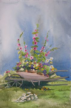 """Floral Abundance In Taos"" by About Barbara Ann Spencer Jump Floral Watercolor, Watercolour, Watercolor Paintings, Wheelbarrow Garden, Barbara Ann, Floral Paintings, Southwest Art, Hollyhock, Ribbon Work"