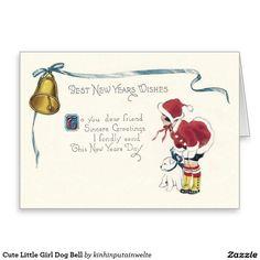 Cute Little Girl Dog Bell Greeting Card