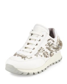 Swarovski®+Crystal-Embellished+Trainer,+White+(Bianco)+by+Prada+at+Neiman+Marcus.