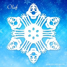 Frozen snowflakes - Olaf and the rest of the crew Paper Snowflake Template, Paper Snowflake Patterns, Snowflake Cutouts, Paper Snowflakes, Snowflake Designs, Origami Templates, Box Templates, Disney Diy, Disney Crafts