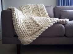 Warm and cozy for home and decor - Chunky Merino Throw by AbbyStClaireBlankets on Etsy