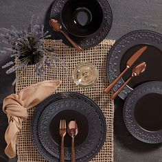 Crafted of durable and intriguing black ironstone, the Chelse Muse Fleur Matte Black All-Purpose Bowl Set is ideal for enjoying soup or salad courses. This set adds contrast to a place setting and coordinates well with formal and casual dinnerware. Black Dinnerware, Casual Dinnerware, Dinnerware Sets, Modern Dinnerware, Dinner Plate Sets, Dinner Sets, Dinner Plates, Dinner For Two, Buy Kitchen