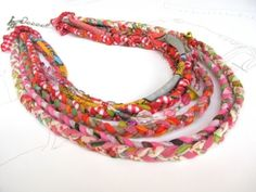 fabric necklace, multistrand necklace, colourful fabric necklace, braided into a neck ornament. by BuCip