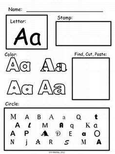 Prek alphabet worksheets: early letter learning, special education - no tracing letter learning! Preschool Literacy, Early Literacy, Preschool Homework, Literacy Activities, Teaching Resources, Alphabet Worksheets, Worksheets For Kids, Writing Worksheets, Learning Letters