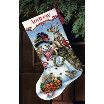 Snowmen Gathering Cross-Stitch Christmas Stocking Kit