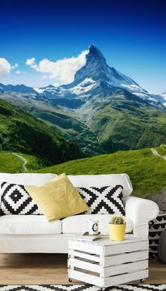Adorn your wall with the glorious mountain view in this stunning Peak of the Matterhorn wall mural. Perfect for your lounge, bedroom or even dining room, choose this mountain wallpaper to completely transform your home! We have classic or premium paste the wall or textured peel and stick wallpapers to choose from. Discover a large collection of wall murals from Wallsauce! .#wallmural #wallsauce #homedecor #landscape #accentwall Interior Stairs, Interior Trim, Interior Design, Landscape Walls, Landscape Wallpaper, Photo Wallpaper, Wall Wallpaper, Panoramic Photography, Mountain Wallpaper