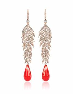 Diamond feather earrings set in rose gold with coral drops by Topal Modern Jewelry, Custom Jewelry, Vintage Jewelry, Feather Necklaces, Feather Earrings, Statement Necklaces, Types Of Earrings, Jewelery, Jewellery Earrings