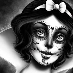 Dark Disney, Disney Art, Princesas Da Disney Punk, Maquillage Sugar Skull, Sugar Skull Girl, Sugar Skulls, Catrina Tattoo, Disney Princess Tattoo, Punk Princess
