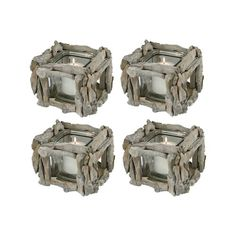 The Pomeroy Collection Edgewood Set of 4 Square Votive Holders Grey Candle Holders, Driftwood Candle Holders, Votive Candle Holders, Votive Candles, Lodge Style Decorating, Square, Wood Glass, Candle Making