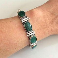 Raw Green Emerald cabochon gemstone Bracelet- 925 Silver Filled- May Birthstone jewellery gift