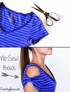DIY: camiseta con mangas de lazo (sin coser) para ponerle un poco de estilo a las camisetas aburridas