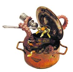 Dollhouse Miniature Old Copper Pot of Tentacle Soup - Handmade 1:12 scale OOAK