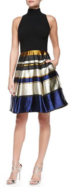 Theia Sleeveless Party Dress W/ Striped Skirt