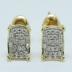 c75dc54e3 10K Yellow Gold Diamond Studs Concave Kite Pave Mens Ladies Earrings 0.13  Ct by RG&D
