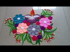 YouTube Easy Rangoli Designs Diwali, Rangoli Simple, Simple Rangoli Designs Images, Rangoli Designs Latest, Rangoli Designs Flower, Small Rangoli Design, Rangoli Patterns, Colorful Rangoli Designs, Rangoli Ideas